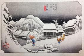 広重 東海道五十三次 「蒲原 夜の雪」