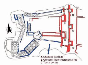 Plan Chastel-Pèlerin (dessin J. Mesqui d'après C.N. Johns). Temple de Paris