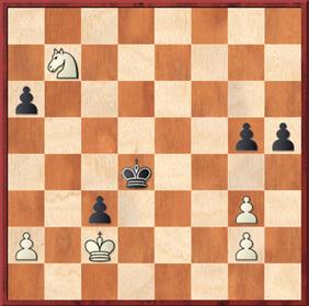 Roth - Mauelshagen: Schwarz erreichte hier das Remis durch 49. ... Ke3! und abräumen der weißen g-Bauern