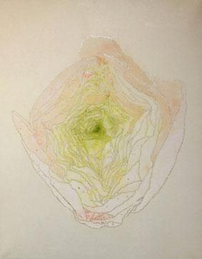 「ラナンキュラスの莟」F4 鳥の子紙/典具帖紙/銀箔/岩絵の具