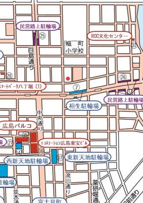 近郊の駐輪場図(赤丸が当院の位置です)。