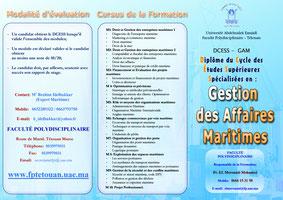 DCESS '' Gestion des Affaires Maritimes à la faculté Polydisciplinaire de Tétouan