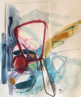 Komposition, Aquarell, 27cmx27cm, 2019