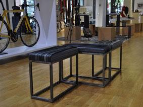 Trendprodukt des Jahres 2016: Loungebank Hockinger aus Fahrradschlauch und Eisen von Stef Fauser Design