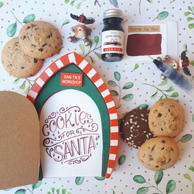paper break lettrage creatif hand lettering encre terre de feu cookies for santa
