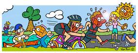 Van Bun Communicatie & Vormgeving - Internetgazet Lommel - Illustraties - Tekeningen - Grafisch ontwerp - Publiciteit - Reclame - Triatlon Lommel