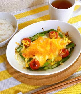 鮭と野菜のチーズマヨ焼き / トリプトファンたっぷり