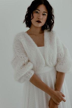 Braut Weste, Oversize Cardigan für Winterbräute