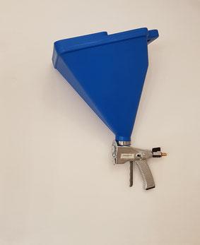 Trichterspritzpistole zur Aufbringung mittels Druckluft. Preis auf Anfrage. Auch als Leihgerät erhältlich.