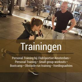 trainingen bij Clubsportieve Amsterdam, personal training, small group workouts, bootcamp, voedingadvies, obstacle run training, handloopschoenen