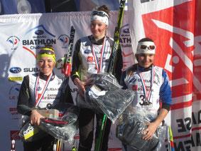 le podium du championnat de France biathlon cadettes 2014