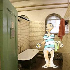 Bolle macht Reklame für das Stadtbad