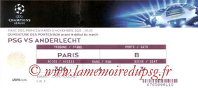 Ticket  PSG-Anderlecht  2013-14