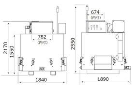 ハイブリッド熱分解装置 #機械サイズ