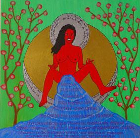 Eine Zeichung auf der eine Frau mit gespreizten Beinen hockt und die Welt flutet