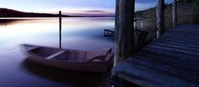 Bodman, Ruderboot in der Morgendämmerung