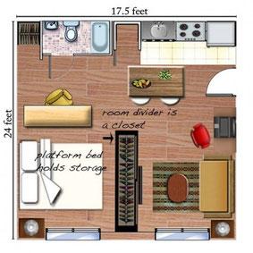 利用衣櫃分隔陝小空間,並且在床底造地台,便可充分利用納米樓的細小空間