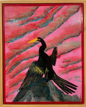 """Cormorant"" 40cm x 50cm Acrylic on Canvas $200 (excluding freight)"