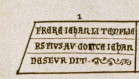 Épitaphe frère Jean de Dreux. Temple de Paris