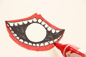 円の周りに口の絵を描こう!