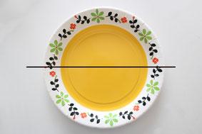 紙皿1枚を半分にハサミで切る(上半分は顔用)