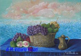 colazione al mare, olio su tela cm 35x50 anno 2008