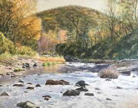「晩秋の渓谷」(F50号)近くの嵐山渓谷を描いたもので、今年の公募展出品を目指したものです。この作品の10号サイズはオー美会にも出品しています。 嵐山渓谷は家からそう遠くないので、よく訪れるところです。