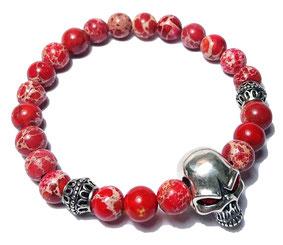 BEHERO Herren - Armband Red Skull (roter Jaspis)