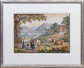 Nr. 3595 Blick auf Thun mit Bäuerlicher Szene