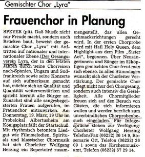 Artikel Rheinpfalz zur Gründung Frauenchor
