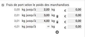 Options des frais de port selon le poids