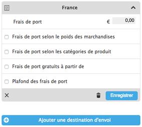 Affichage des options des frais de port
