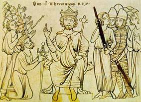Otto I. siegt über Berengar (Illustration einer Handschrift, um 1200)