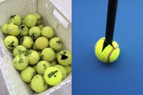 撮影現場で養生用のテニスボールです。