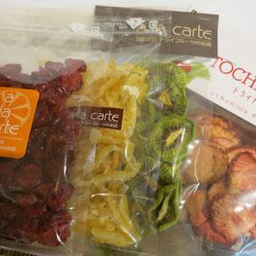 とちおとめ、紀州キウイ、ゆずピール、クランベリー:さっぱりとして、色もキレイな商品が人気です。