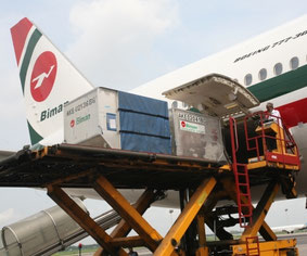 Loading of shipments on board a Biman Boeing 777-300