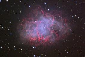 Bernd Liebscher und Harald Liederer,  Aufnahme des Krebs-Nebels: Überreste einer Supernova in einer Entfernung von etwa 6.000 Lichtjahren, die vor etwa 1.000 Jahren, im Jahr 1054, beobachtet wurde.