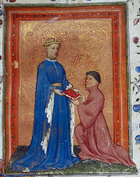 Henri V  debout en prince de Galles.Image a été fournie par la British Library. Aussi disponible sur British Library.Inscription au catalogue: Arundel MS 38Ce band