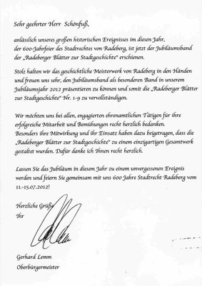 Radebergs Oberbürgermeister G. Lemm an Klaus Schönfuß als Mitautor zur Radeberger Stadtgeschichte