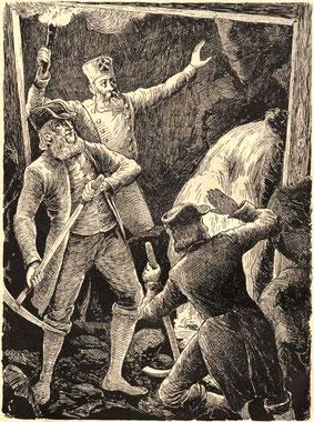 Die Entdeckung der Quelle im ehemaligen Bergwerksstollen durch den Radeberger Bürgermeister Seydel 1717; Illustration von Oskar Seyffert; aus: Was die Heimat erzählt (Störzner)