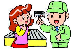主婦に給湯器の説明をするサービスマンイラスト