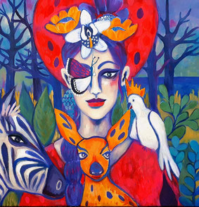 Lady Butterfly with her faithful Companions. 80x80x2cm.