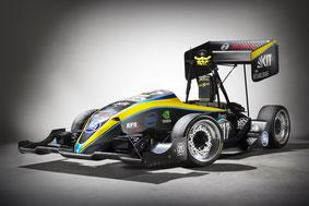 Mit dem autonomen Rennwagen KIT 17D nimmt das Karlsruher KA-RaceIng Team dieses Jahr in der neuen Wettbewerbs-kategorie Driverless teil (Foto: Bosch)