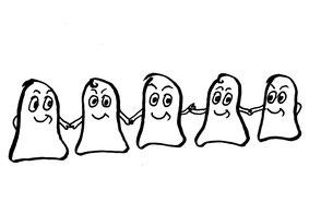 Fünf Glockenmännchen halten sich an der Hand. Zeichnung von Claudia Pichler Mediation Salzburg