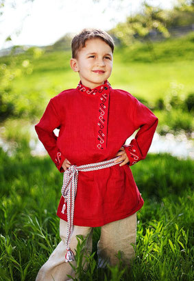 Russian traditional costume for a boy. Organic linen, hand embroidery. Make to order.