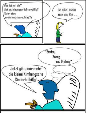 """Kimberger voll im türkisblauen Trend: """"Strafen, Zwang und Drohung"""". Bild:spagra"""