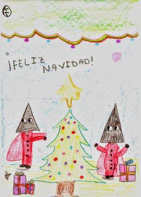 Postal navideña ganadora del año 2019, de nuestra pequeña cofrade, Sandra.