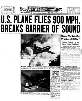 La prima pagina del giornale che annunciava l'abbattimento della barriera del suono il 14 ottobre 1947