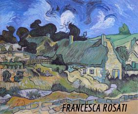 cottage con tetto di paglia a Cordeville, copia d'autore Vincent Van Gogh, olio su tela, 50x60 cm, 2014