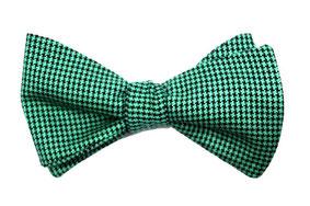 Herren Anzug Fliege zum selbstbinden in Grün Schwarz kariert